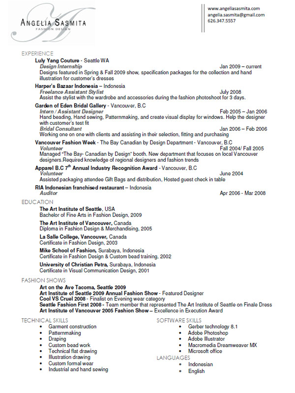 angelia sasmita fashion designer fashion designer resume sample